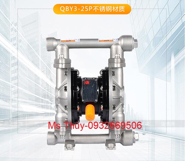 bơm màng QBY3-25P Inox, bơm màng Inox, bơm màng QBY3-25P, QBY3-25P, QBY3
